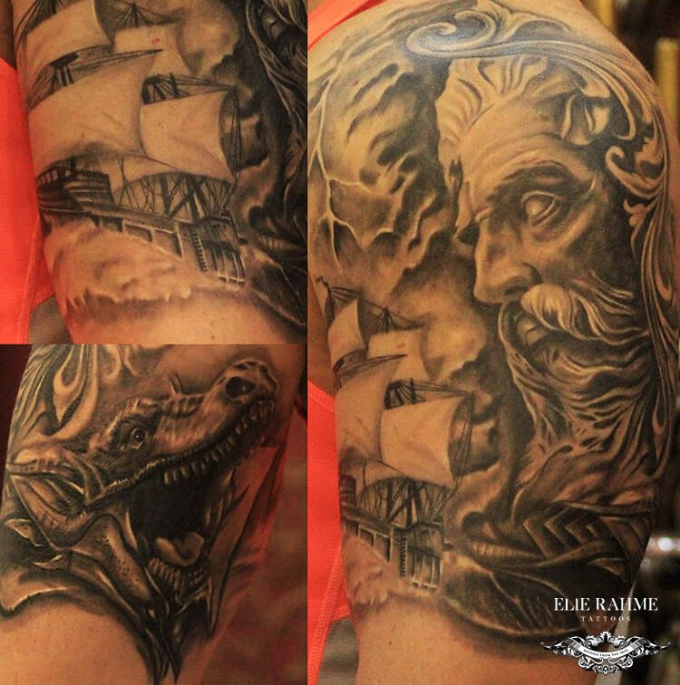 Elie Rahme Tattoos: Poseidon, The Greek God Of The Sea